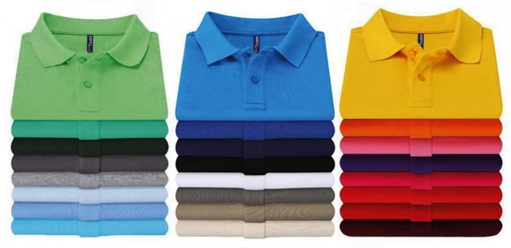 stack of coloured polo shirts