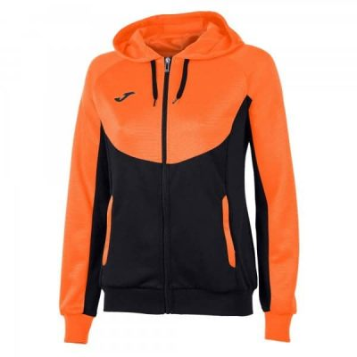 Joma JACKET HOODIE ESSENTIAL WOMAN BLACK-ORANGE