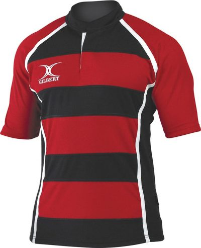 Gilbert Rugby SHIRT XACT II HOOP Red/Black