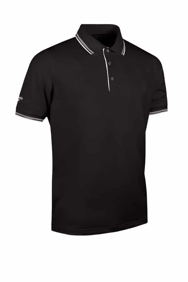 g.Ethan tipped polo shirt (MSP7422-ETH) - Black/White - Glenmuir