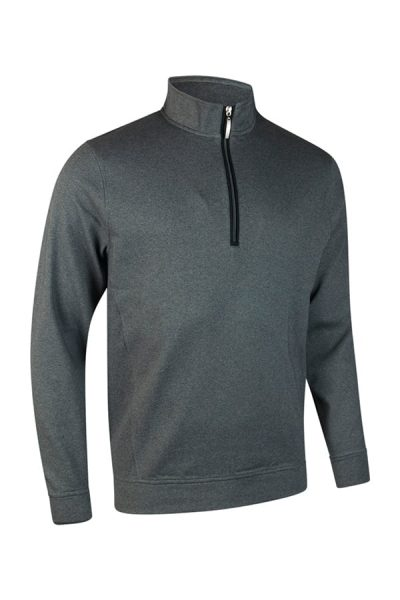 g.Artemis zip neck long sleeve fleece (MF7474) - Grey Mix/Black - Glenmuir